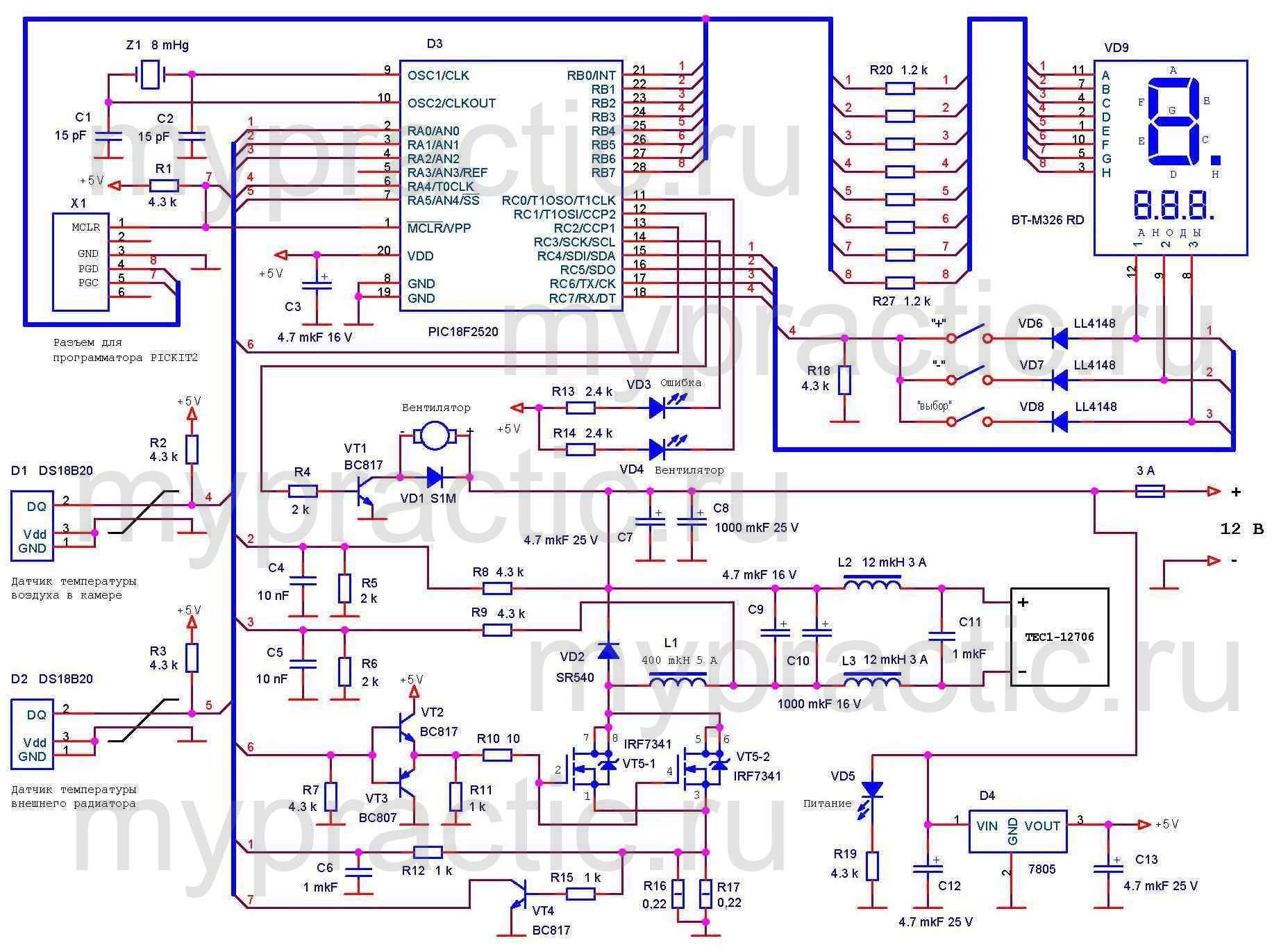 Схема контроллера для холодильника на элементе Пельтье