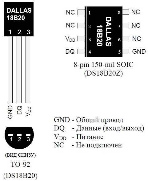 Назначение выводов DS18B20