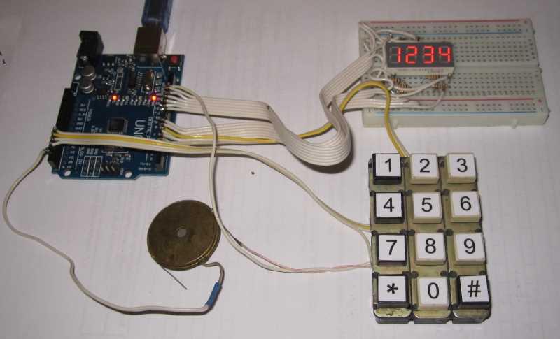 Подключение индикаторов и клавиатуры к Ардуино