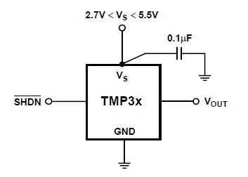 Схема подключения TMP36