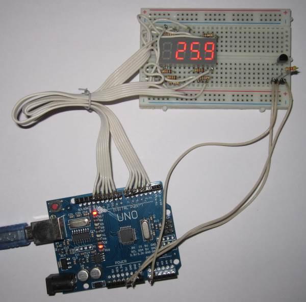 Макет Ардуино термометра на DS18B20