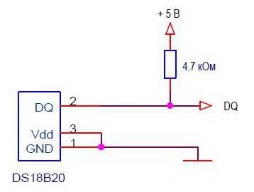 Схема подключения DS18B20