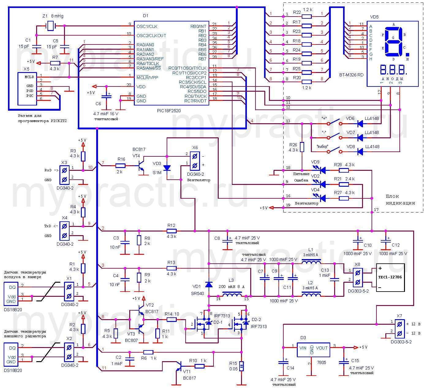 Принципиальная схема контроллера модуля Пельтье