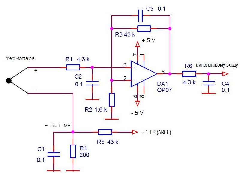 Схема усилителя термопары