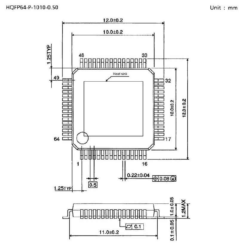 Чертеж корпуса HQFP64-P-1010-0.50