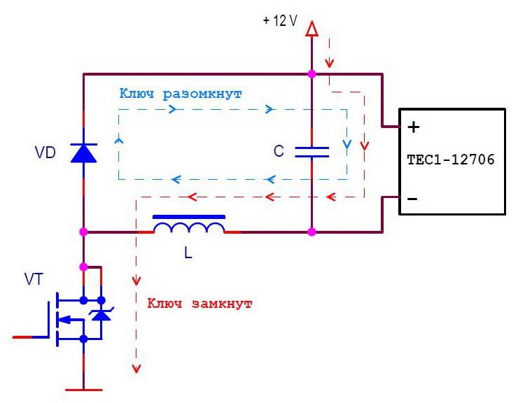 Схема силовой части контроллера Пельтье