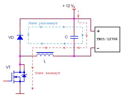 Схема импульсного регулятора с отвязанной от земли нагрузкой