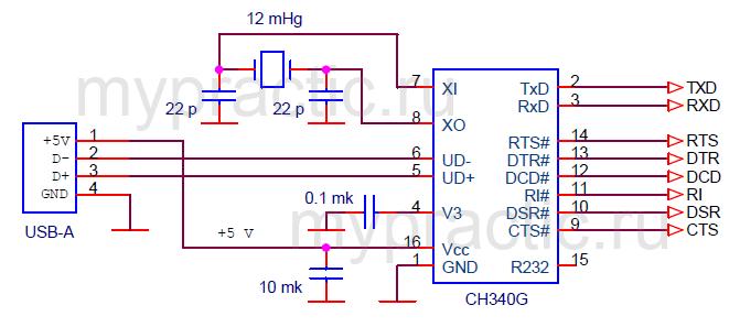 Схема включения CH340G