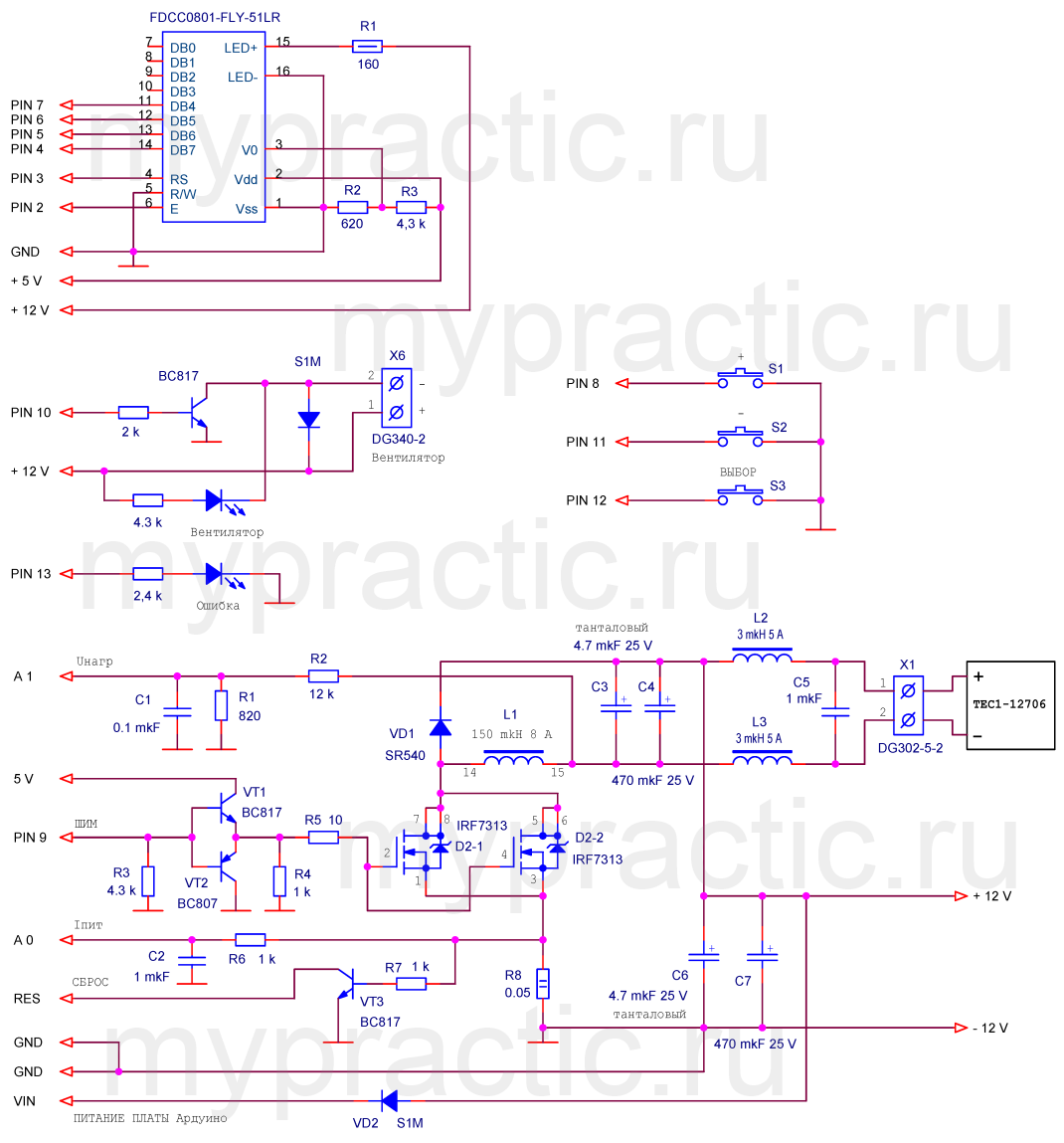 Схема контроллера элемента Пельтье