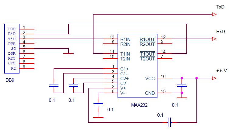 Схема конвертера RS-232 в TTL на MAX232