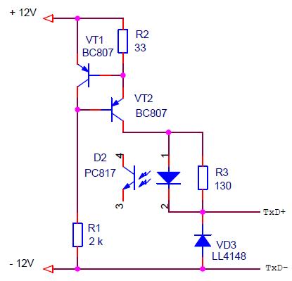 Схема активного приемника ИРПС (токовая петля) со стабилизатором тока