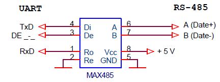 Схема преобразования интерфейса UART в RS485