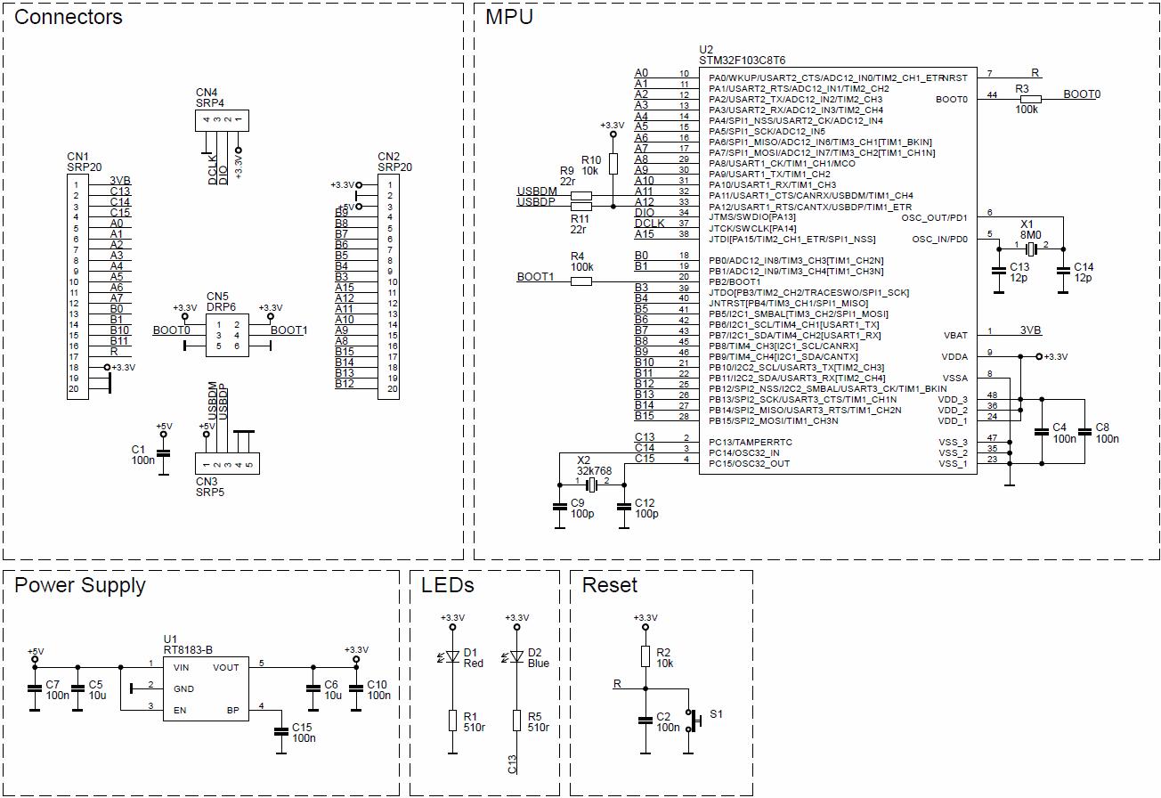 Схема отладочной платы STM32F103C8T6
