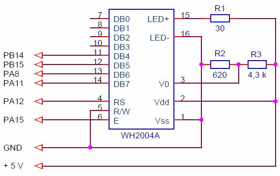 Схема подключения LCD к STM32