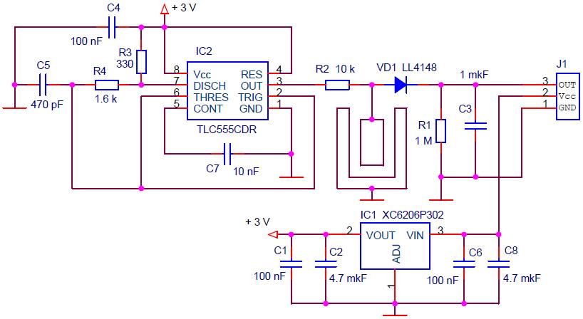 Схема емкостного датчика влажности почвы (Capacitive Soil Moisture Sensor V1.2).
