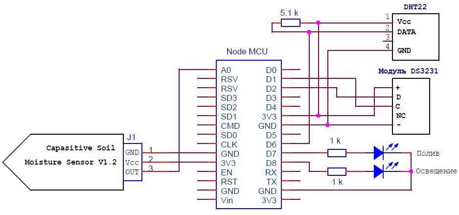 Схема подключения DHT22 к ESP8266